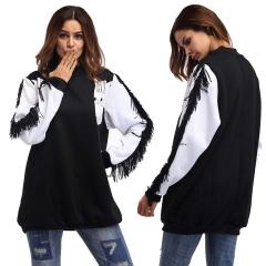 2018 Autumn Round Neck Loose Shirt Bat Sleeve Tassel Stitching Long-sleeved Sweater One Size black one size