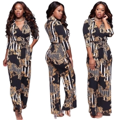 Plus Large Size Women's 2018  Autumn and Winter Deep V Printed Trousers Tie Jumpsuit Women black s