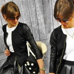 2019 Women Basic Coats Black Zipper Jacket Punk Style Bandage Women PU Leather Jacket Crop Tops black s