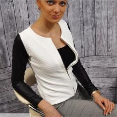 2019 Women Basic Coats Black Zipper Jacket Punk Style Bandage Women PU Leather Jacket Crop Tops white xl