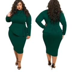 2019 Ins Hot Sale 1 Pc Poly Women's Extra Large Size Dress Bow Long Sleeve Solid Color Dress Female army green xl