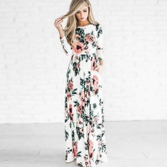 2018 INS Hot Sale Women's European and American long-sleeved printed floral dress dress white s