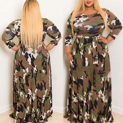 2019 INS Hot Sale Woman Large-Size Autumn and Winter Dresses Camouflage Dresses and Long Skirts army green l