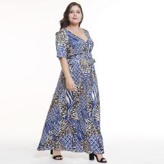 2019 Women's New V-neck Sexy Split Large Size Summer Print Dress Summer Big Dress blue l