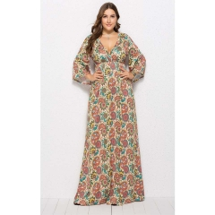 2019 New Autumn Women's Dresses Printed Sexy Pleated Long Skirt,  Large Size Middle Sleeve Dresses orange l