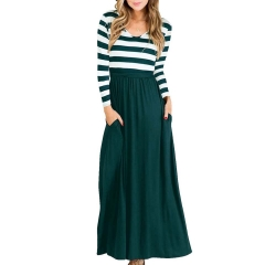 2019 Long-sleeved Round-collar Selling Stripe Stitching Skirts For Autumn and Winter green s