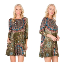 2018 Autumn New Female Ethnic Print Three Quarter Sleeve Pocket O Neck Loose Casual Style Dress army green s