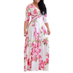 2018 Europe And The United States Plus Size Women's V-neck Floral Printing Lace  Dress With Belt print 1 s