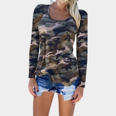 2019 Women's Camouflage Print Slim T-shirt Sexy Top O-Neck Long Sleeve Crop Tops Skinny T-Shirts gray s