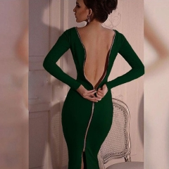2019 Women Sexy Low Cut Bodycon Velvet Sheath Casual Autumn Winter Zipper Fashion Party Dresses green s