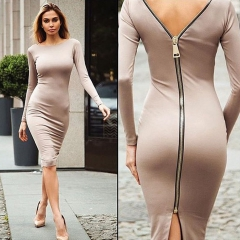 2019 Women Sexy Low Cut Bodycon Velvet Sheath Casual Autumn Winter Zipper Fashion Party Dresses khaki xxl