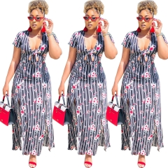 2018 INS Hot Sale 1 Pc Poly Sexy Print Hollow Out Long Sleeve Striped High Split Dress print s