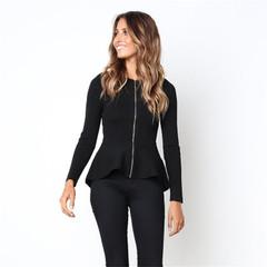 2019 Ins Hot Sale 1 Pc Poly Round Neck Ruffled Long-sleeved Zipper Slim Coat Shirt Women's Clothing black s