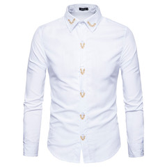 2019 Ins Hot Sale Cotton Fashion Turndown Collar Floral Embroidered Shirt White S