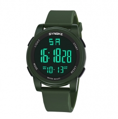 Men Digital Watches Multi Function Military Sports Watch LED Waterproof Dual Movement Wrist Watches army green