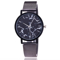 Fashion Silver And Gold Mesh Band Creative Marble Wrist Watch Casual Women Quartz Watches Gift black
