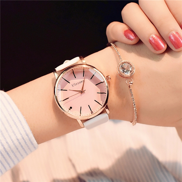 Polygonal Dial Women Watches Luxury Fashion Dress Quartz Watch Popular Ladies Leather Wristwatch Pink Glass White