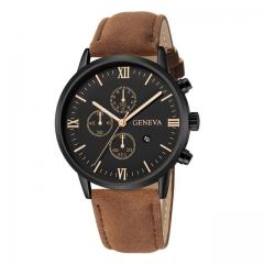 Fashion Geneva Men Date Alloy Case Synthetic Leather Analog Quartz Sport Watch Luxury Male Clock B