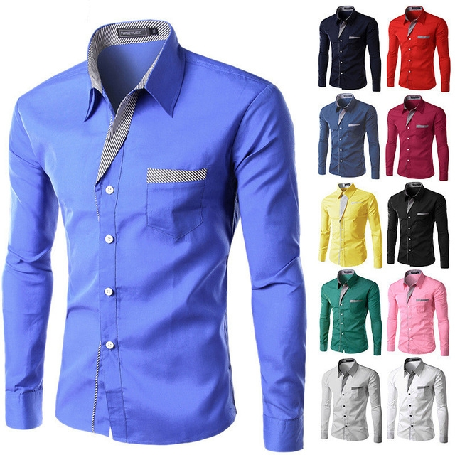New Fashion Brand Camisa Masculina Long Sleeve Shirt Men Korean Slim Design Formal Casual Male Shirt black m