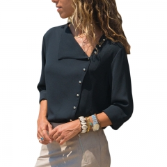 Chiffon Blouse Long Sleeve Women Blouses and Tops Skew Collar Solid Office Shirt Casual Tops Blusas black s