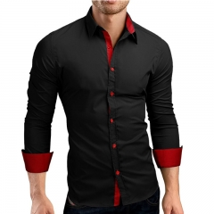 Men Shirt Brand 2019 Male Long Sleeve Shirts Casual Hit Color Slim Fit Black Man Dress Shirts black red m 165cm 55kg