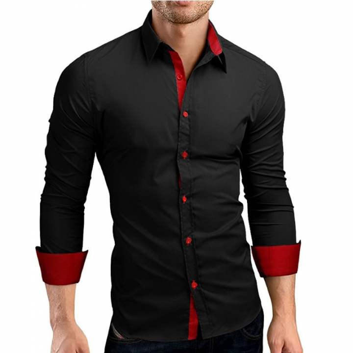 Men Shirt Brand 2019 Male Long Sleeve Shirts Casual Hit Color Slim Fit Black Man Dress Shirts black red m 165cm 55kg