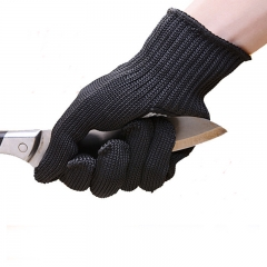 1 Pair Anti-cut Gloves Black Working Protective Stainless Steel Wire Metal Mesh Safety Self Defense as picture 1 pair