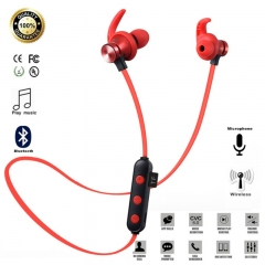 Magnetic Attraction Bluetooth Earphone Headset Waterproof Sports 5.0 With Charging Cable Earphone red only earphone