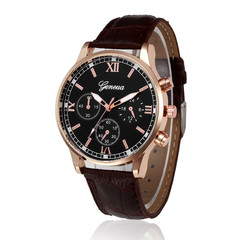 Retro Design Leather Band Analog Alloy Quartz Wrist Watch Men Watches Top Brand Luxury Business brown