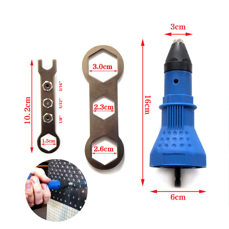 Electric Rivet Nut Gun Riveting Tool Cordless Riveter Drill Adaptor Insert  Nut Tool Riveting Drill BLUE Riveter Drill Adaptor