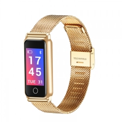 Y8 Smart Band Heart Rate Blood Pressure Fitness Tracker Smart Bracelet Stainless Steel Wristband gold Stainless Steel strap