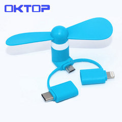 3 IN 1 Travel Portable Mini Fan Cooling Cooler For Micro USB C For 5 6 6S 7 Plus 8 X Android Type-c randomly color usb android iod Type c fan f9 not