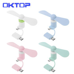 OKTOP Portable fan 2in1 Type C Android  Micro USB Mini Fan Cooler for Cell Phone and all Smart phone randomly color android type c fan f10 not