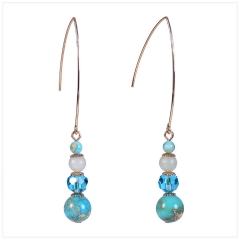 DY Bohemian Natural Turquoise Crystal Drop Earrings for women blue one size