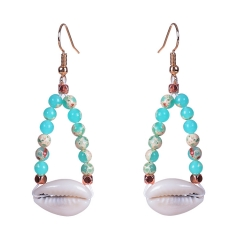 DY 2019 New exaggerated shell earrings bohemian handmade natural stone earrings for women blue one size