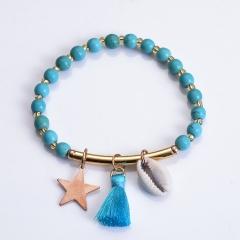 DY Yoga bracelet boho jewelry shell bracelet, natural stone turquoise with tassel bracelets Blue one size