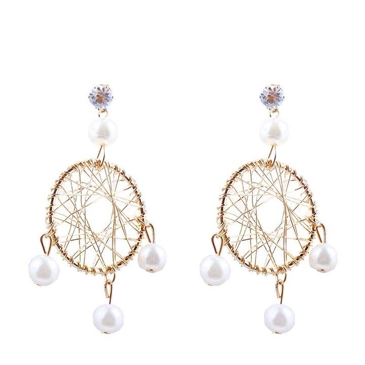 Woven Imitation Pearl Earrings Geometric Woven Hollow Ball Faux Pearl Drop  Earrings Jewelry Gifts