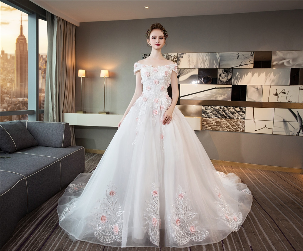 Wedding dresses lace appliques ball gown white bridal tail wedding
