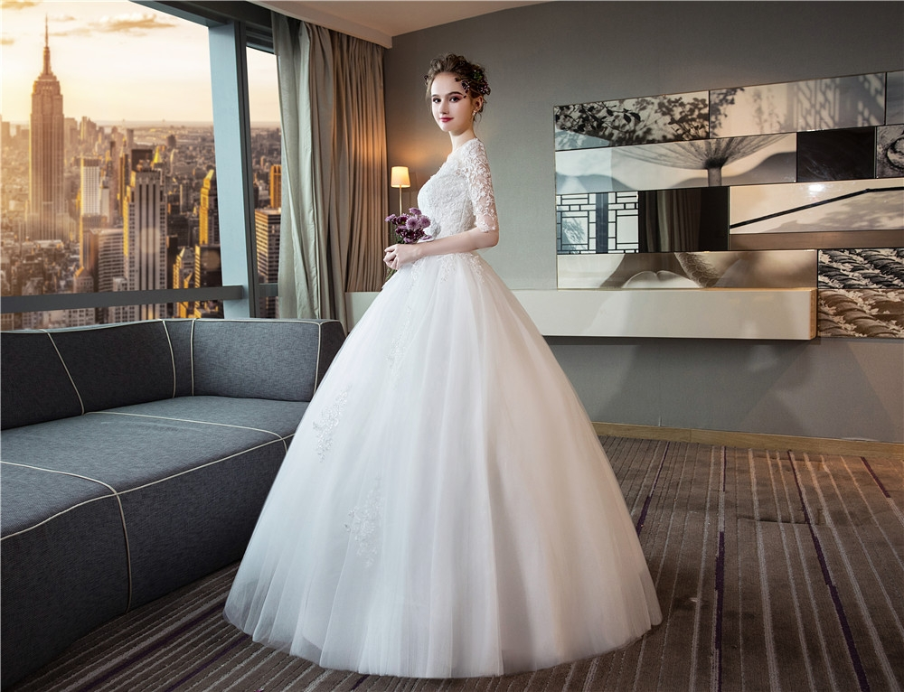 Wedding dresses lace appliques ball gown white bridal wedding