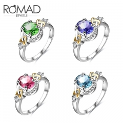 Hot style accessorised with four-colour zircon ring for lady creative ring green No. 6