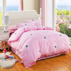4Pcs Bedding Set (1 Duvet cover+1 Bed sheet+2 Pillow covers) Design color as picture Red 2.0m (6.6 ft) bed