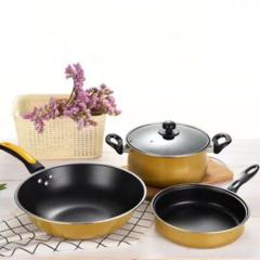3Pcs/Set High Quality Cooking Pots Cookware Set Non-Stick + 3Pcs/Set Truners For Kitchen black 3pcs