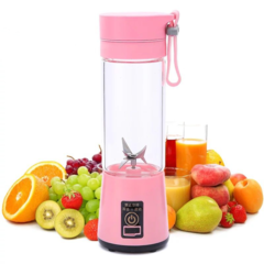 Mini Portable Juicer Cup Rechargeable Blender USB Juicer For Vegetables Fruit Reamers Bottle Pink 1pcs