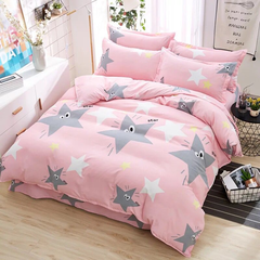 4Pcs Bedding Set(1 Duvet cover+1 Bed sheet+2 Pillow covers) Super Wash Padding Cotton Elasticity a-color as picture 2.0m-bed