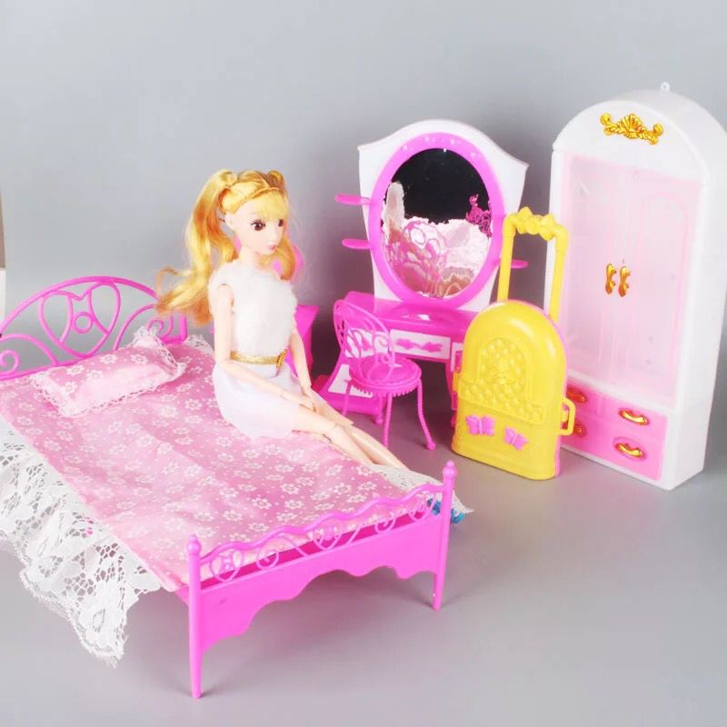 Admirable Toys For Barbie Doll Sofa Chair Couch Desk Lamp Furniture Set Pink One Size Short Links Chair Design For Home Short Linksinfo