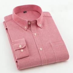 New Men Oxford Shirt Youth Fashion Slim Fit Shirt Brand Clothing Mens Business Shirt Male Red M