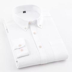New Men Oxford Shirt Youth Fashion Slim Fit Shirt Brand Clothing Mens Business Shirt Male white L