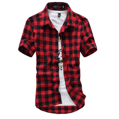 Fashion lattice Casual Slim Mens Denim Shirts Men Jacket red m