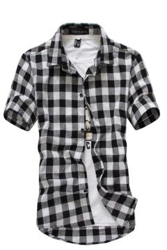 Fashion lattice Casual Slim Mens Denim Shirts Men Jacket gray xl