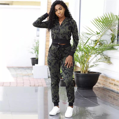 women's fashion casual sports print thread set+Pants Two Piece Sweatsuit Casual Tracksuit Outfit Set ArmyGreen s